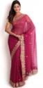Pink Georgette Bandhej Saree With Gota Patti