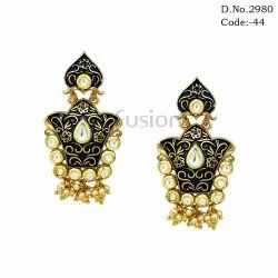 Designer Meenakari Pearl Earrings