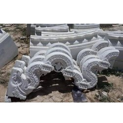 White Carved Marble Carvings Toran