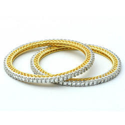 Sheetal Diamonds 14K 6.50 Carat Real Diamond Yellow Gold Bangles, Packaging Type: Box