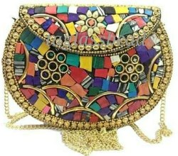 Indian Handmade Woman Metal Bag Mosaic Patten Brass Bag