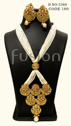 Traditional Antique Pearl Polki Pendant Set