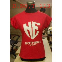 Half Sleeve Round Red Ladies Printed T Shirt
