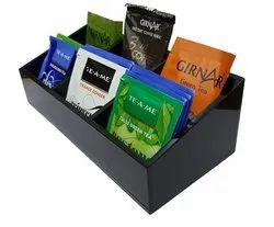Acrylic Tea/Coffee Sachet Holder Tray, Shape: Rectangle