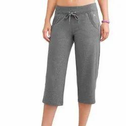 Cotton Ladies Plain Grey Capri