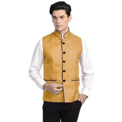 2154badf7 Men  s Nehru   Modi Jacket - Yellow Colour