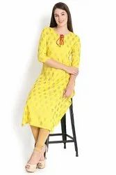 Yellow Gold Printed  Rayon Kurti
