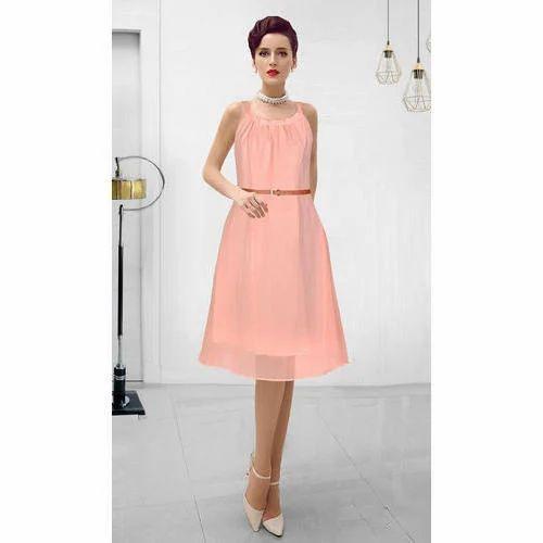 f198b468beb Sleeveless Round Neck Designer Western Dress