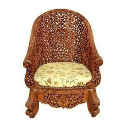 Heritage Wooden Brown Carved Chair, Finish: Polished