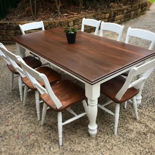 Dining Table Set For Home Rs 25000 Set Wooden Industrial Furniture Rustic Green Id 21878095991