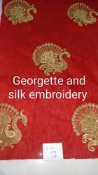 Georgette And Silk Embroidery Fabric