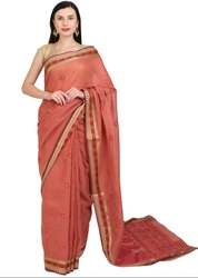 Lucknowi Chikan Work Dusty Peach Saree