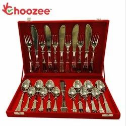 Choozee - 24-Pieces Designer Cutlery Set - (Embossed Line, 12 Gauge, Stainless Steel)