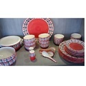 Ceramic Red Hand Painted Dinner Set
