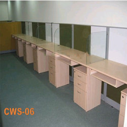 Wooden and Glass Brown Computer Workstation