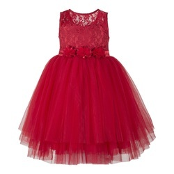 Red Laces Frocks and Gowns for Baby Girls