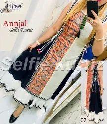Reyon 3/4th Sleeve Ladies Anarkali Kurti