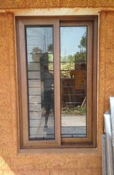 2 Track Wood Finish Aluminum Sliding Windows