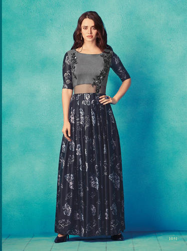 Printed Fancy Long Gown Style Kurti Rs 551 Piece Saree Exotica