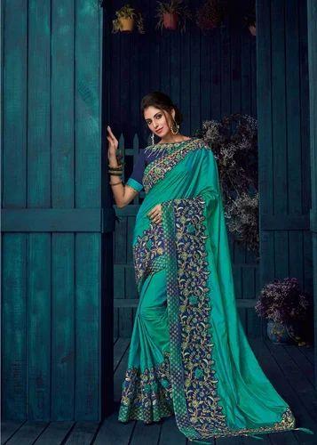 e19fa7e4cb5 Wedding Wear Amazing Peacock Green Color Heavy Bordered Paper Silk Saree