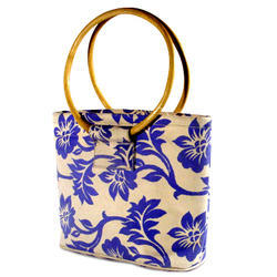 Round Cane Handle Printed Jute Bag