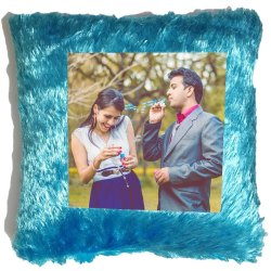 Blue Fur Sublimation Cushion Square