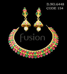 Traditional Emerald Ruby Necklace Set