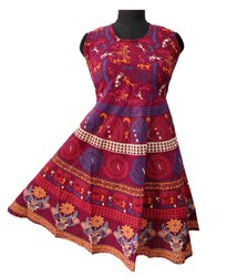 Sleeveless Cotton Jaipuri Short Frock, Size: XL