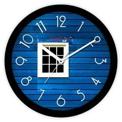 Blue Bird Black Wooden Wall Clock