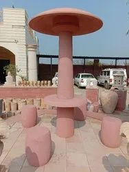 Red Sandstone Garden Round Table & Chairs