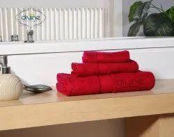 Divine Overseas Plain ELYSIAN 3 PC TOWEL SET Red, 450-550 GSM, Size: Mix