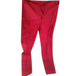 Ladies Cotton Red Chikan Pants, Size: S, M & L