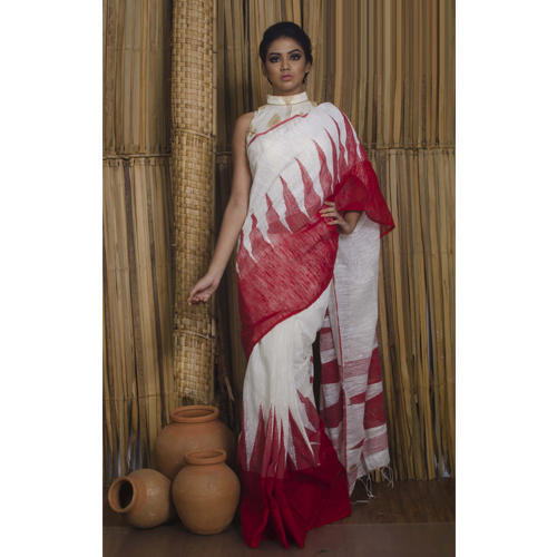 dbe2073218b608 Khadi Cotton Matka Saree with Temple Border in White and Red at Rs ...