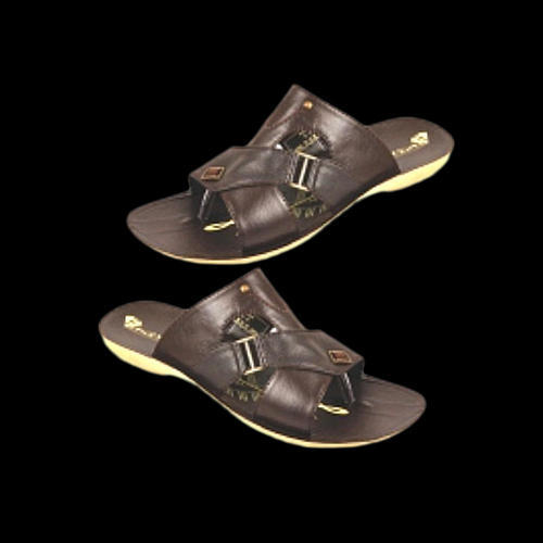 Mens Leather Brown Slipper, Size: 6-10