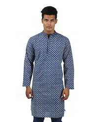 Men's Hand Block Printed Indigo Full Sleeve Cotton Knee Length Kurta