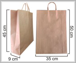 Handled Brown Paper Handbag, For Shopping