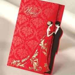 Wedding Invition Cards.Red Gold Stamp Wedding Invitation Card