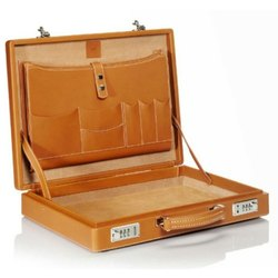 Brown Leather Suitcase, For Document Storage