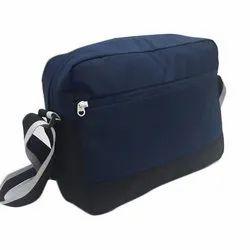 Plain Black And Blue Leather Messenger Bag