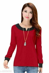 Ladies Full Sleeve Red T Shirt