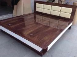 gujjubazar Brown Low height double bed 6/6, For Home, Gaddi Back