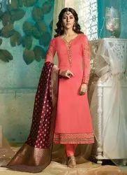 Party Wear Designer Churidar Suits With Banarasi Dupatta