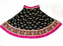Indian Cotton Block Printed Cotton - Navratri Special Kutchhi Border - Gamthi Skirt
