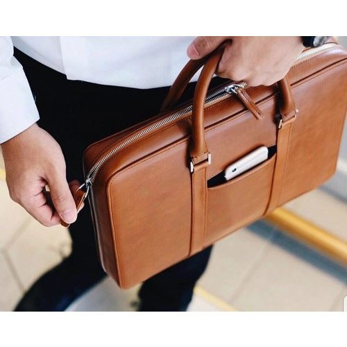 Unisex Brown Corporate Office Leather Laptop Bags