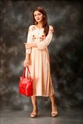 Light Pink Color Hand Embroidered Rayon Dobby Long Kurtis