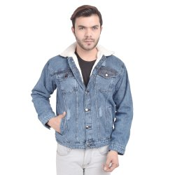 Skupar Rugged Men Denim Jacket With Fur