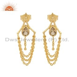 18k Gold Plated Silver Citrine Gemstone Chain Dangle Earrings