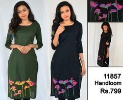Floral Embroidered Casual Hand-loom Kurti