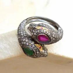 Women's Vibgyor Creation Snake Design Pave Diamond Gemstone Ring Jewelry, Size: 27*24 mm