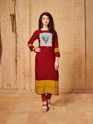 Multicolor Rayon Party Wear Kurties